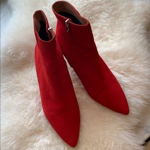 Nordstrom's halogen red suede booties size 10